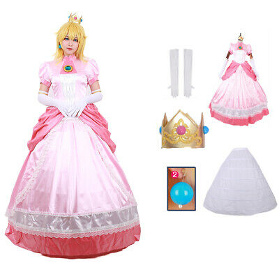 Princess Peach Costume Womens Deluxe Fancy - Princess Peach Dress