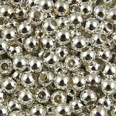 100pcs 4mm Silver Metal Round Spacer Beads Jewelry Fingding Craft DIY Charms B