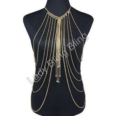 Körperkette Körperschmuck Bauchkette Collier Halskette Kette Body Chain Gold