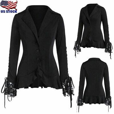 Steampunk Jacket Womens (Womens Steampunk Victorian Gothic Coat Jacket Medieval Lace Ruffle Blazer)