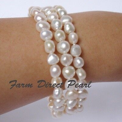 Genuine Multi strand 3 row White Pearl Bracelet 7.5
