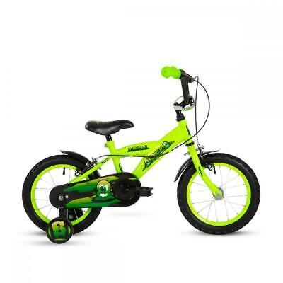 """Bumper Ooze Kids Boys Bike Single Speed 12"""" 14"""" 16"""" Wheel w Stabilisers Green 3+"""