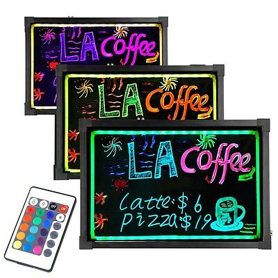 "32x24"" Flashing Illuminated Erasable Neon LED Message Writing Board Menu Sign"
