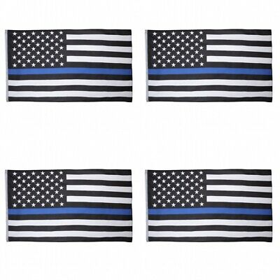 4-Pack Thin Blue Line American Flag 3X5′ Police Stars & Stripes Support Flag Décor
