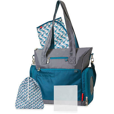 Fisher- Price Athleisure Diaper Bag- Teal and Gray