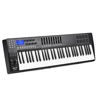 PRO 61-Key USB MIDI Electric Black Keyboard Piano Controller 8 Drum Pads Hot US