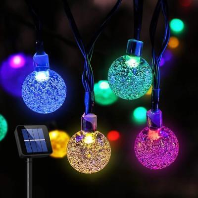 Solar 30 LED String Light Crystal Ball Garden Yard Decor Lamp Outdoor Waterproof - Light Balls