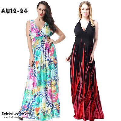 PLUS SIZE Boho Plunging Neck Stretch Floral Maxi Long Dress Evening 12 - 24