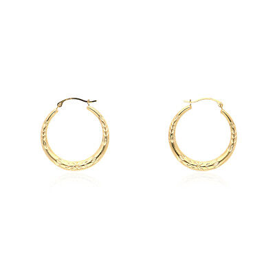 (14k Yellow Gold Floral Pattern High Polished Creole Style Hoop Earrings)