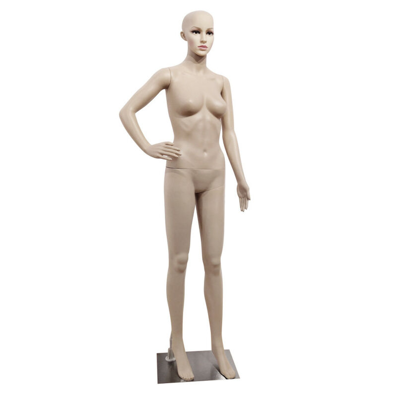 Female Mannequin Full Body PP Realistic Display Head Turns Dress Form w/ Base