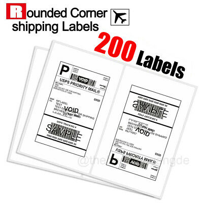 200 Shipping Labels Rounded Corners 2 Labels Per Sheet 8.5 X 11 Self Adhesive Us