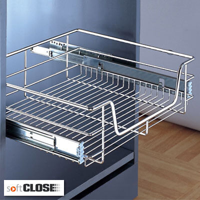 6 x PULL OUT WIRE BASKETS KITCHEN CABINET LARDER CUPBOARDS TO SUIT 500MM CABINET ()
