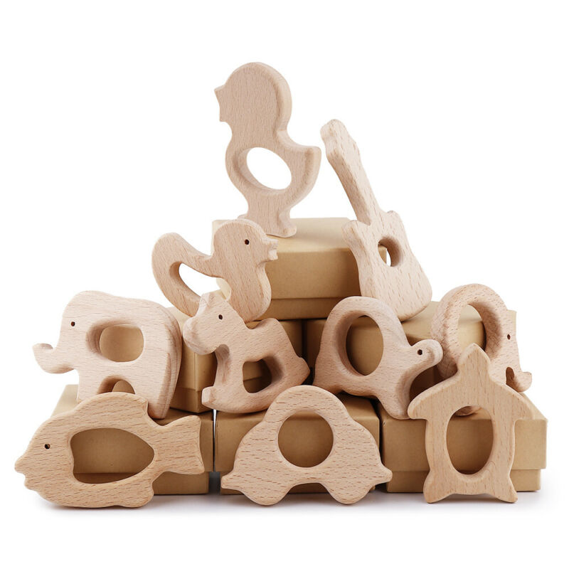 Kids Baby Teether Wooden Teething Soother Chewable Animal Shape Toy Pendant