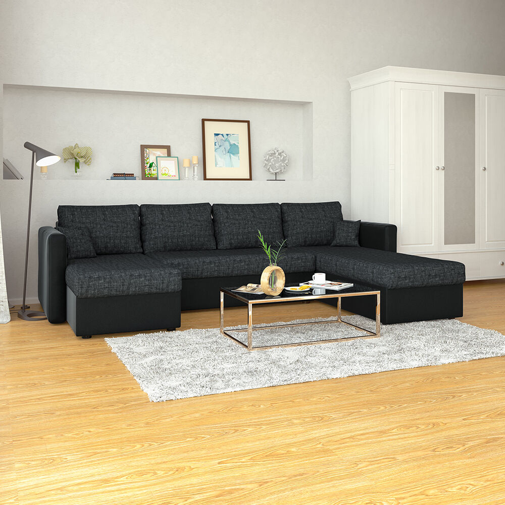 vicco xxl sofa mit schlaffunktion schwarz couch ecksofa. Black Bedroom Furniture Sets. Home Design Ideas