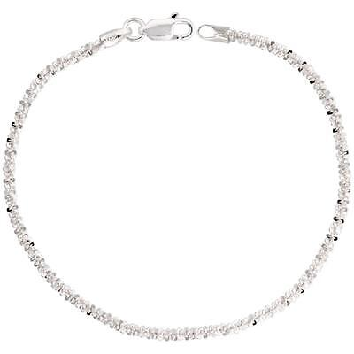 Sterling Silver Sparkle Rock Chain Necklace Bracelet, Made Italy, 2mm,2.5mm,3mm](Silver Rock)
