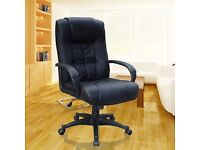 SALE!! BLACK OFFICE CHAIR PADDED LEATHER HIGH BACK GAMING CHAIR STUDY CHAIR ERGONOMIC CHAIR
