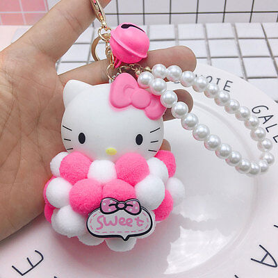 Cute Pink Hello Kitty Keychain Bow Key Ring Plush Ball Bag Car Doll Toy KT Cat
