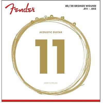 Fender 70CL 80/20 Bronze Acoustic Guitar Strings Custom Light Ball End (11-52)
