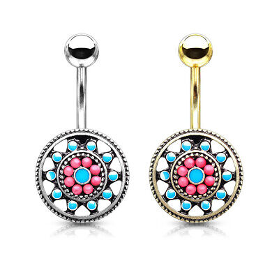 Belly Button Ring Turquoise Enamel and Beads Aztec Tribal Sun Surgical Steel 14g