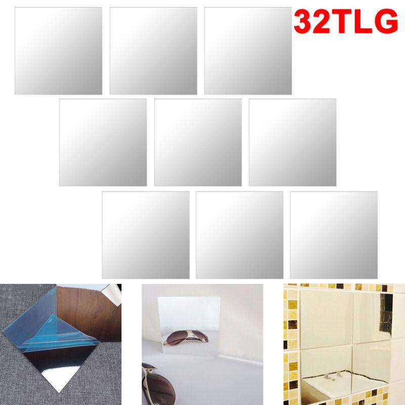 32x Spiegelfliesen Wandspiegel Spiegelfolie Selbstklebend Aufkleber Folie
