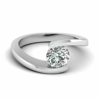 Half Carat Round Cut Diamond Solitaire Twisted Design Engagement Ring For Women