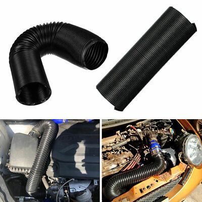 76mm 1M Car Air Intake Cold Pipe Flexible Ducting Feed Hose Induction Pipe Set
