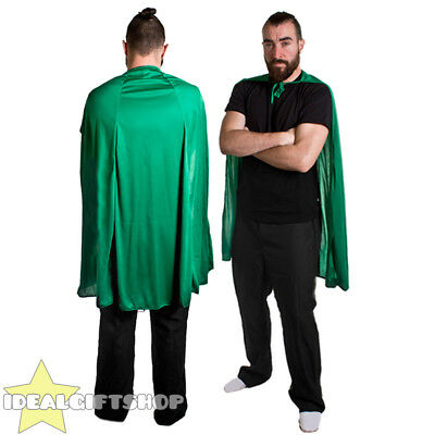 GREEN ADULTS SUPERHERO CAPE FANCY DRESS COSTUME COMIC BOOK FILM HERO HALLOWEEN