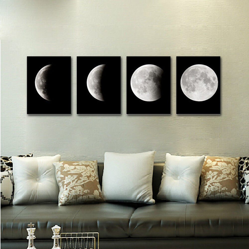 Canvas Print Wall Art Painting Pictures Home Decor Poster Abstract Moon Black