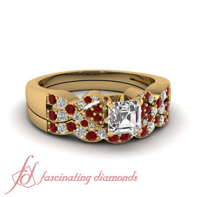 .85 Ct Ruby Gemstone And Asscher Cut Diamond Bridal Sets In 18K Yellow Gold GIA
