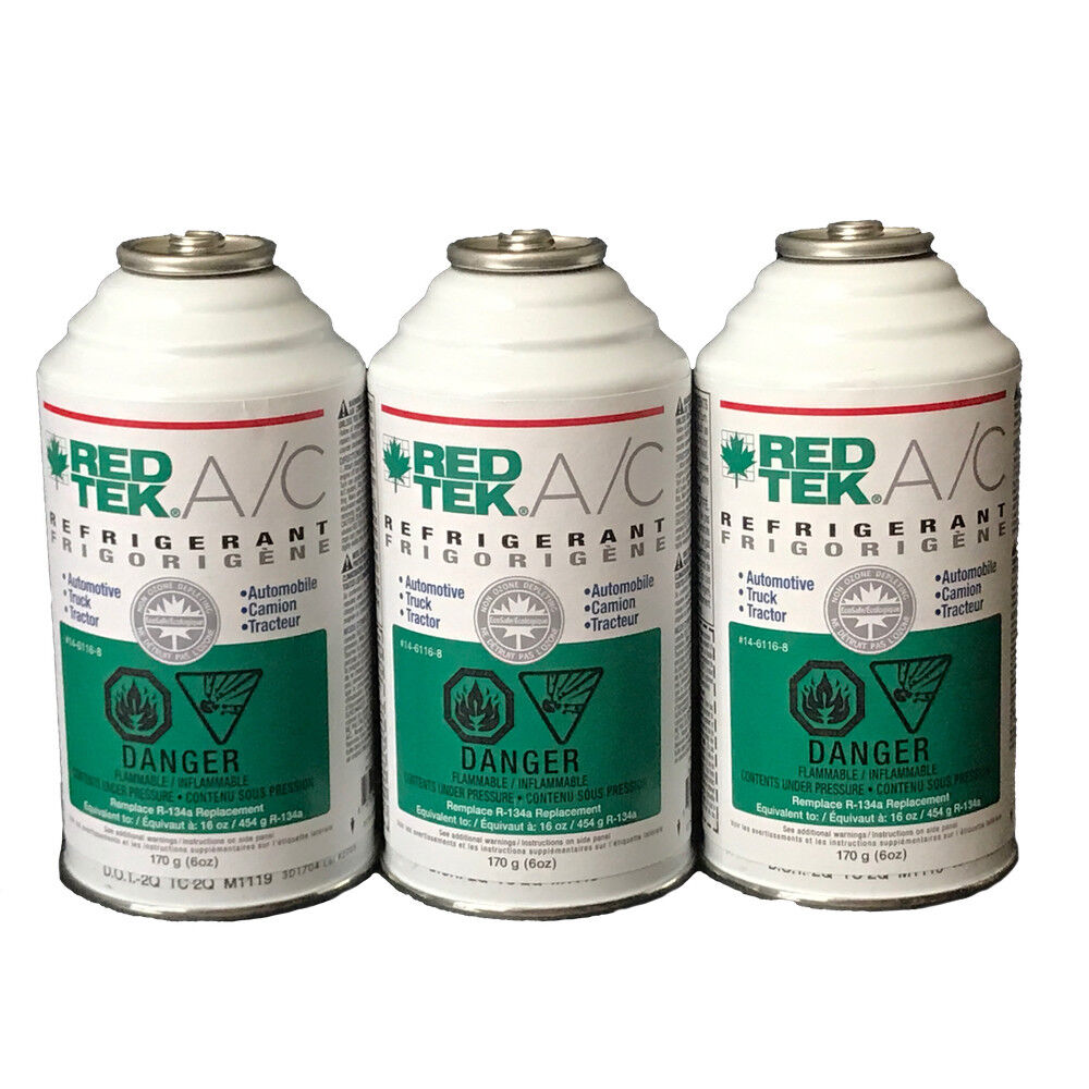 3 CANS - REDTEK A/C Refrigerant (6 Ounce Cans)