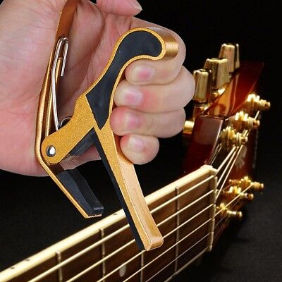 Quick Change Tune Clamp Key Trigger Capo For Acoustic Electric Guitar Gold