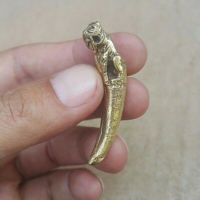 """""""TIGER CANINE TOOTH"""" Thai Amulet Brass Magic Holy Wealth Lucky Powerful Healthy"""