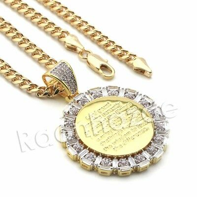 Lab diamond Micro Pave Engraved Jesus Message Pendant w/ Miami Cuban Chain BR038