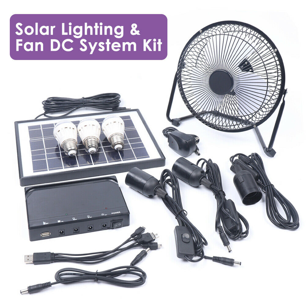 Solar Power Panel Generator Energy Storage USB Charger System Kit+3 LED Light US 2