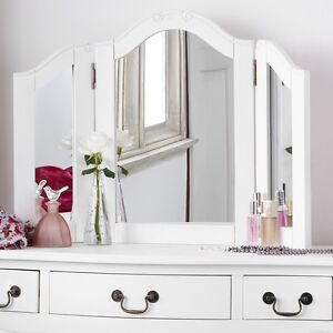JULIETTE Shabby Chic Antique White DressingTable Mirror, Large 3-way mirror ONLY