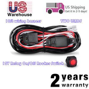 Universal Wiring Harness Kit LED Light Bar Fog Light 40A 12V Relay Fuse Switch