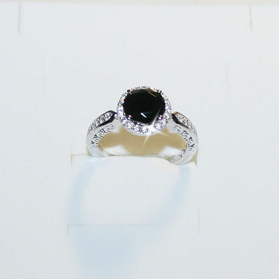 Black Diamond Simulated Engagement Promise Ring 14K White Gold Over 925 Ss