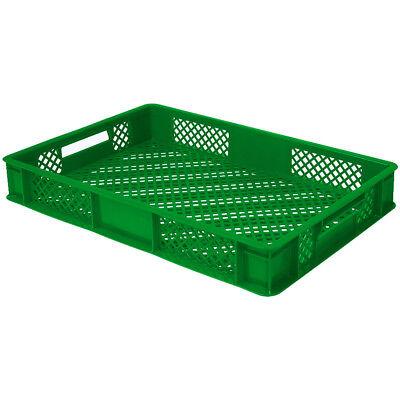 10x Eurobehälter / Stapelkorb, LxBxH 600 x 400 x 90 mm,15 Liter, grün