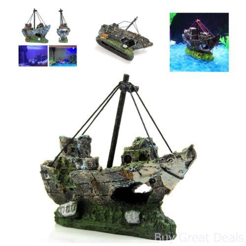 Fish Tank Accessories Supplies Aquarium Decorations Ruins Pirate Ship Wreck Boat