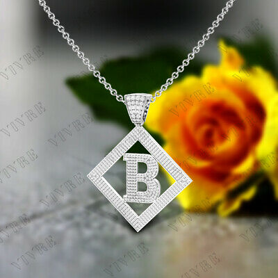 "Initial Letter ""B"" Charm Pendant Necklaces 1.50 Ct Diamond Real 10k White Gold"