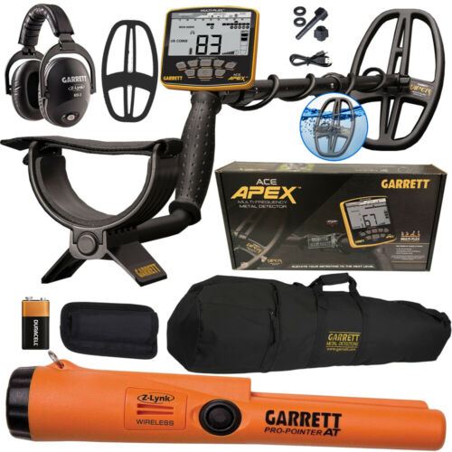 2021 Garrett APEX Metal Detector Wireless Headphones Pro-Pointer AT Z-Lynk, Bag