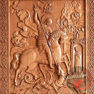 (Saint George and the Dragon Orthodox Wooden Carved Icon (10