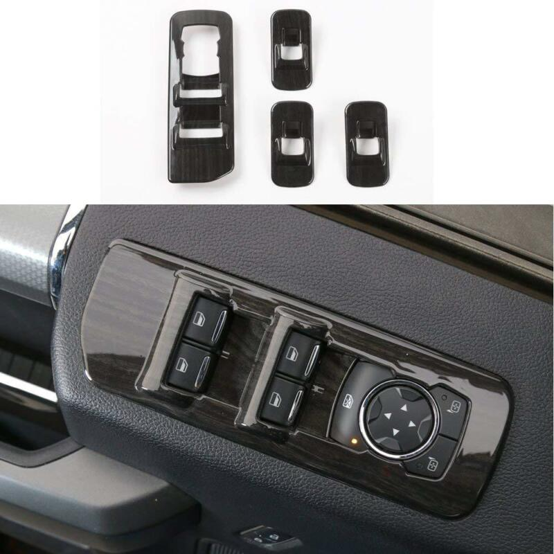 Window Lift Switch Panel Cover Trim for 15-17 Ford F150 Accessories Wood grain