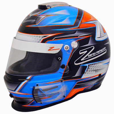ZAMP RZ-42 SA2015 Racing Helmet - Auto / Karting Snell Rated Blue Orange Graphic - Kart Racing Helmets