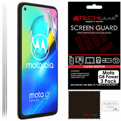 3 Pack of TECHGEAR CLEAR Screen Protector Guards For Motorola Moto G8 Power