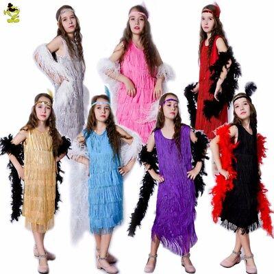 New Girls Pretty Sassy Flapper Costumes Children Latin Dress for Dance Party