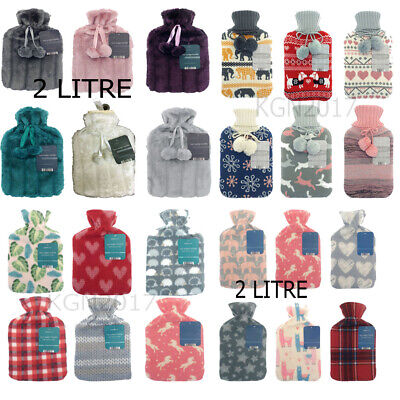 New  Hot Water Bottle With Cover Fleece Faux Fur Knitted Pom Pom Cover 2 LITRE