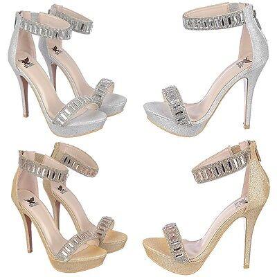 Rhinestone & Gem Ankle strap Stiletto High Heels Platform Pumps Sandals Size H13](Size 13 Pumps)