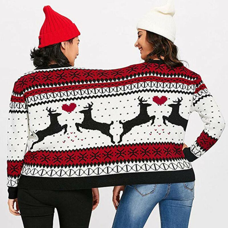 Two Person Combine Ugly Sweater Xmas Couples Novelty Christmas Blouse Top Shirt