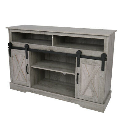 """52 Inch TV Stand Wood Console Table with Sliding Barn Door For TVs Up To 65"""""""